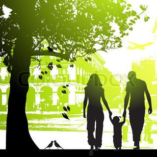 Familie tur i byens park
