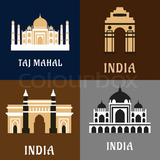Indian architecture and landmarks flat icons of historical for Taj mahal exterior design