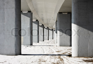 Colonnade of the vertical supports under the bridge