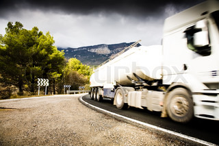 Truck On The Road. Pyrenees Mountain. Spain.