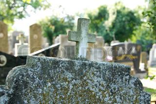 old orthodox graveyard stone details in serbia