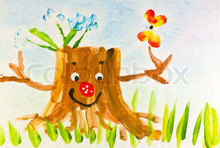 Happy Children's drawing depicting the forest hemp