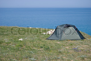 tourist tent standing on the Western coast of the Black sea