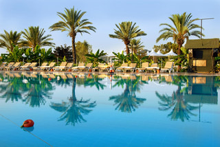Palms and chairs by blue swimming pool in resort in Turkey