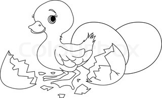Easter Duckling Jumping Out From Broken Egg Coloring Page