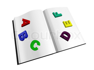 opened book with colored letters isolated