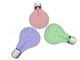colored light bulbs isolated on white