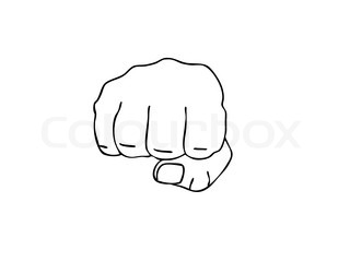 vector drawing of the fist on white background