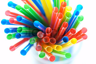 Abstract colorful background. Close-up of straw tubes