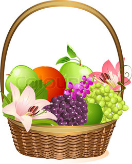 Wicker fruit basket with flowers vector colourbox for Clipart frutta