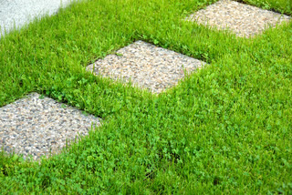 architecture details, stone slabs in green grass outdoor