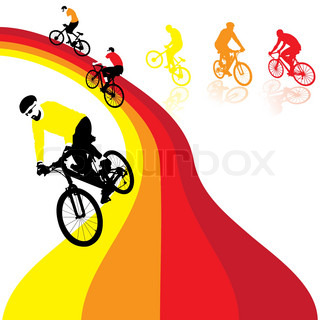 three bicyclists riding the rainbow, vector illustration