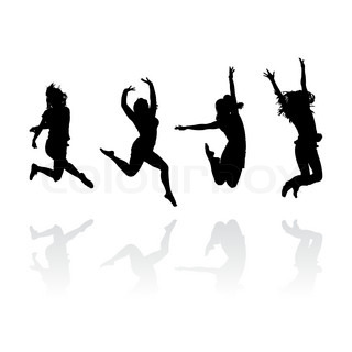jumping girls silhouettes with reflection, vector illustration