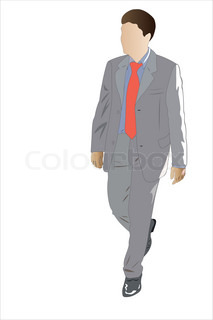 Vector illustration of walking businessman