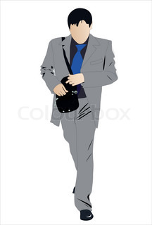 Vector illustration of walking businessman with bag