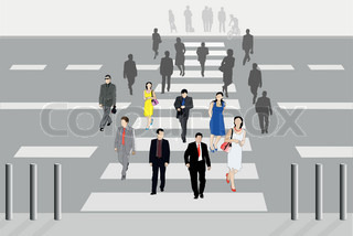 Vector illustration of people cross the road