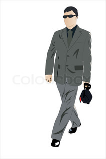 Vector illustration of walking businessman with glasses