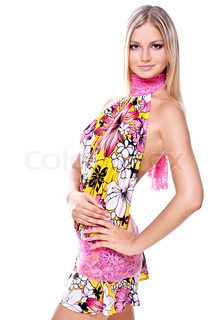 beautiful women in a colored dress on a white background