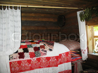 Bedroom in ancient russian county Novgorod Russia