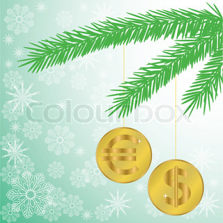 green silhouette of a fir branch with two shiny coins
