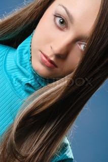 Portrait der schönen Mädchen mit sexy Lippen