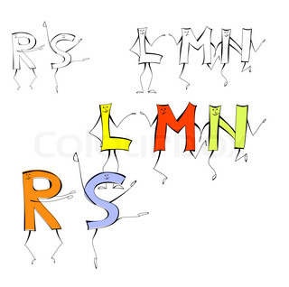 Set of cartoon style letters
