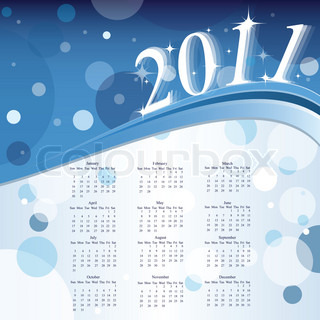 2011 Calendar. Vector illustration - eps10