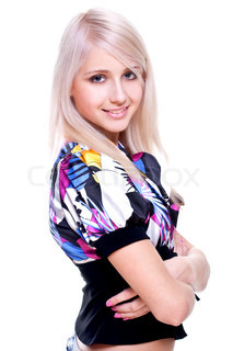 beautiful women in a colored shirt on a white background isolated