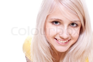 beautiful women in a yellow shirt on a white background isolated