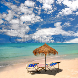 Beach umbrella and tropical sea