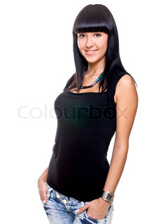 beautiful woman in a black T-shirt on a white background isolated