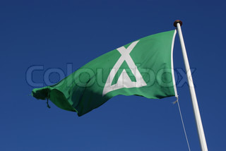 Flag, camping site.