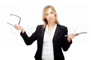 Angry businesswoman on white background holding folder and eyeglasses