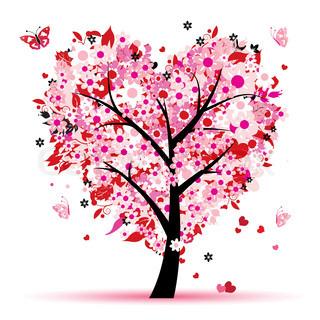 Valentine træ , kærlighed, blad fra hjerter