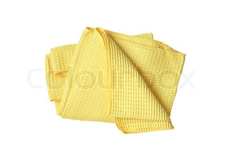 Yellow tea towel isolated on white background with clipping path
