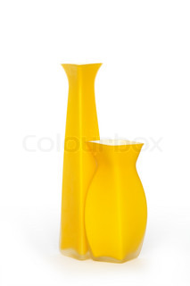 Two nice yellow modern vases isolated on white background with clipping path