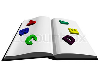 3d opened book with colored letters
