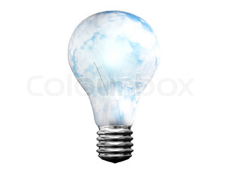 shining light bulb with clouds isolated on white