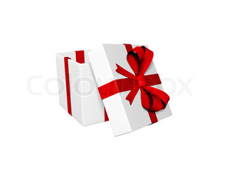 opened gift-present box isolated on white
