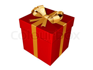present-gif red box with golden ribbon isolated