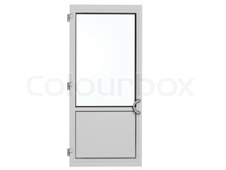 one frame metal-plastic door isolated on white