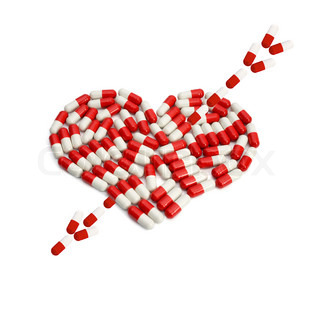Capsules arrow on heart capsule love concepts isolated on white background