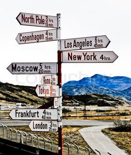 Destination sign for cities around the world