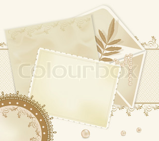congratulation retro background with  lace, envelopes, leaf, pearls