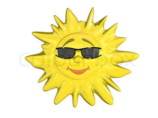 Cartoon sun in glasses isolated on white background