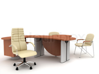 The office director's furniture complete set isolated on light background