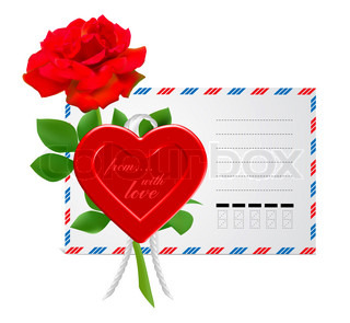 envelope to the St.Valentine illustration isolated on white background
