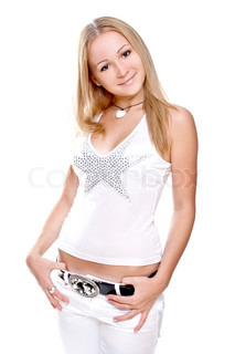 beautiful women in a shirt on a white background