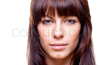 beautiful woman face on a white background isolated