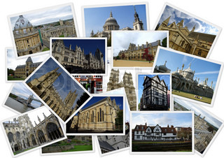 Traveling around England in collage with several shots